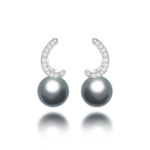 Athena Tahitian Pearl Diamond Earrings