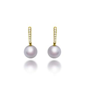 Manta Freshwater Pearl Diamond Earrings